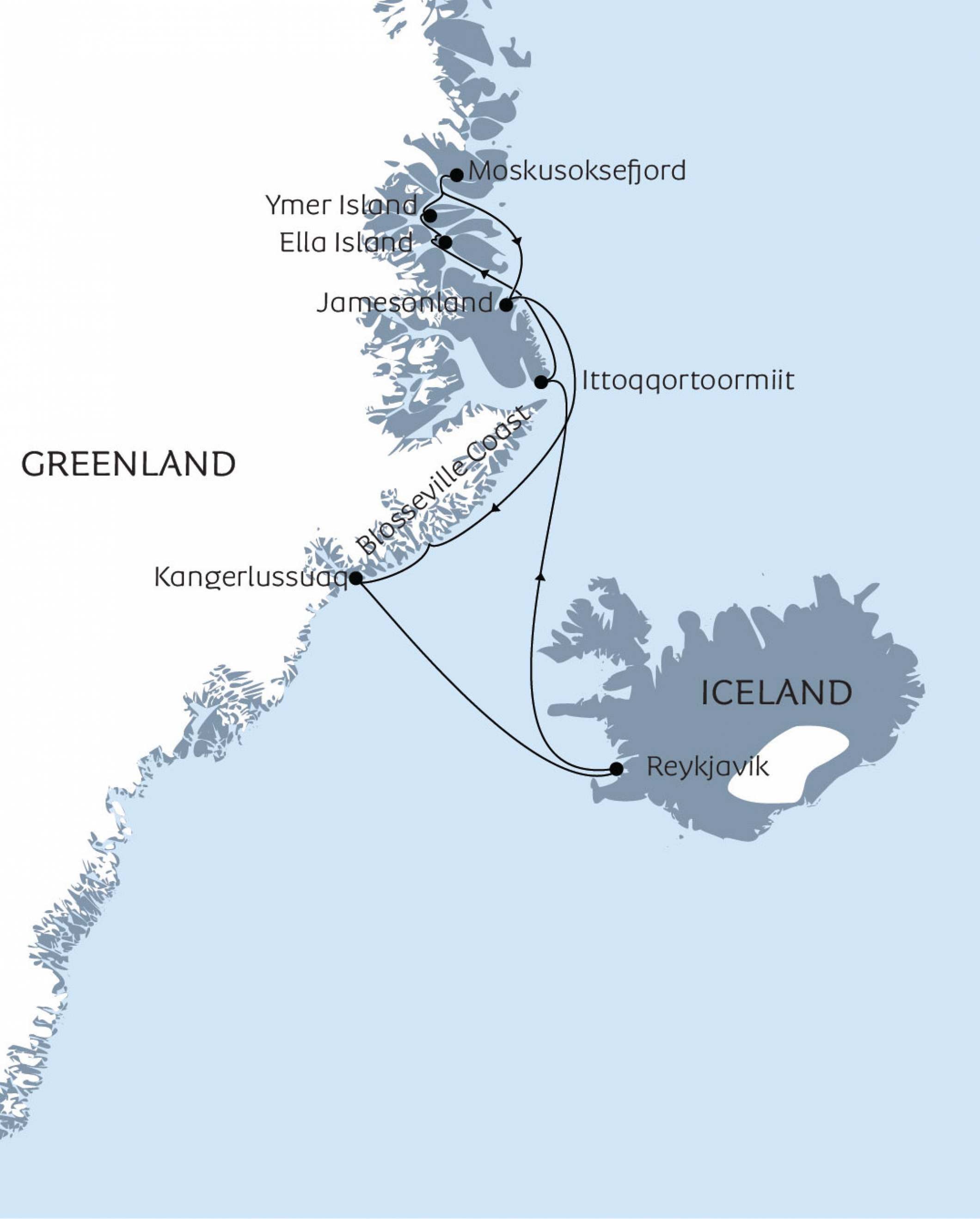 Map of voyage Northeast Greenland - into the national park