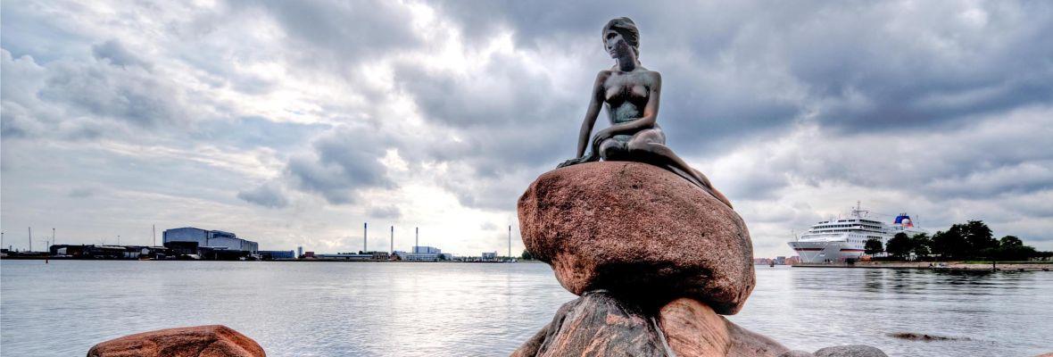 The famous little mermaid in central Copenhagen