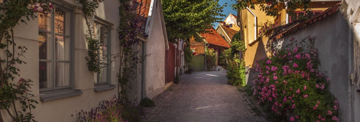 Cozy streets in Visby, Sweden