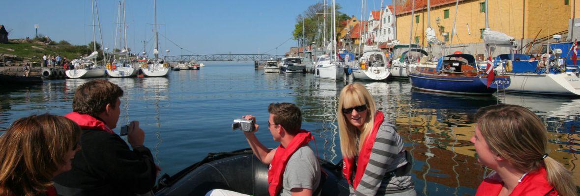 Arriving by Zodiac to tiny island of Christiansø, Denmark