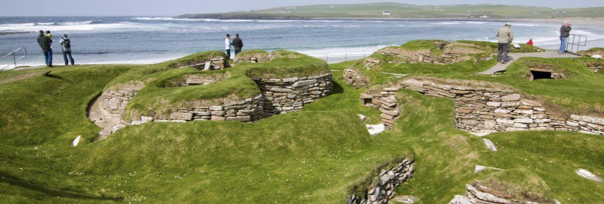 Visiting the world famous Skara Brae Stone Age dwellings.