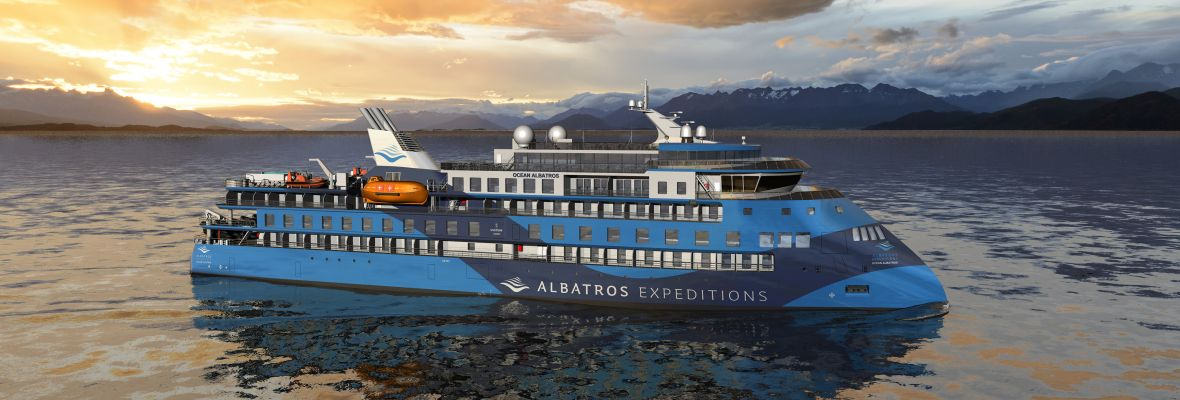 Ocean Albatros, our new expedition vessel. 93 elegant double rooms, most of them with balcony