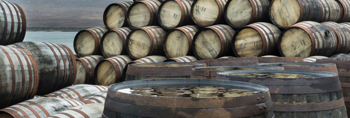 Whisky barrels at Bunnahabhain distillery