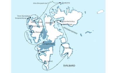 Svalbard circumnavigation map