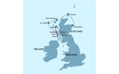 Map of voyage the Jewels of the Scottish Isles