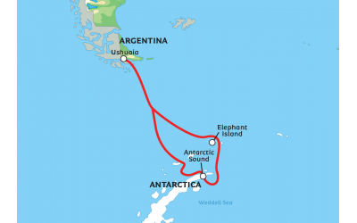 Map of Weddell Sea exploration tour